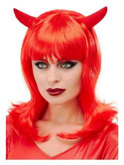 Piros Női Ördög Paróka Szarvakkal