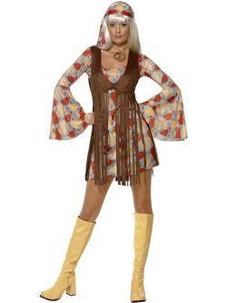 Piros-Sárga-Barna 1960-as Évekbeli Hippi Női Jelmez