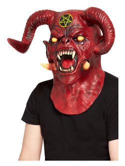 Piros Teljes Fejet Befedő Latex Sátáni Ördög Maszk
