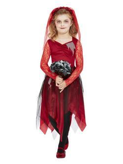Piros Temető Menyasszony Kislány Jelmez Halloweenre
