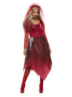 Piros Temető Menyasszony Női Jelmez Halloweenre