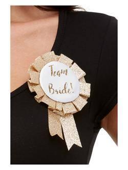 Rosegold Team Bride Feliratos Szalagos Kitűző Lánybúcsúra