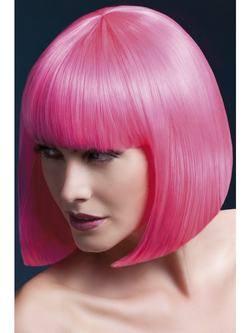 Rövid Neon Rózsaszín Paróka Frufruval