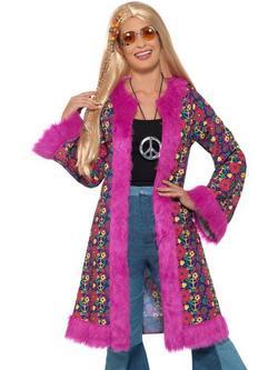 Rózsaszín 1960-as Évekbeli Mintás Hippi Kabát Nőknek