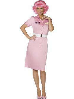 Rózsaszín Grease Frenchy Jelmez Nőknek Ruhával és Övvel