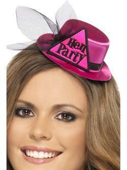 Rózsaszín Hen Party Mini Kalap Fátyollal