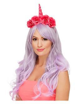 Rózsaszín Unikornis Hajpánt Virágokkal