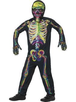 Sötétben Világító Csontváz Tini Fiú Jelmez