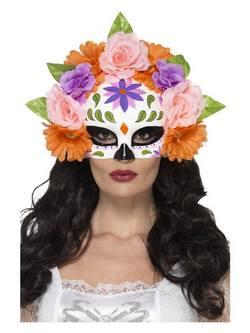 Színes Mexikói Halottak Napja Szemmaszk Virágokkal