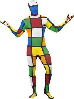 Színes Rubik Kocka Testhez Álló Férfi Jelmez