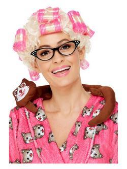 Szőke Nagymama Paróka Pink Hajcsavarókkal