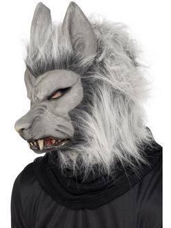 Szürke Szőrös Farkasember Maszk Fülekkel