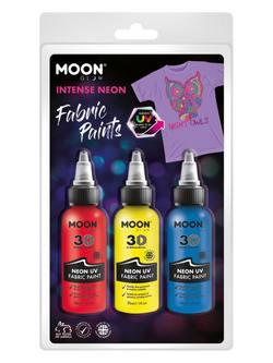 Vegyes Neon UV-s Szövetfesték Szett - Piros, Sárga és Kék - 30 ml