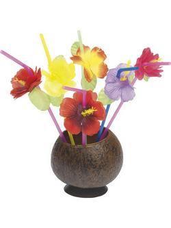 Virágos Hawaii Szívószál - 12 db-os