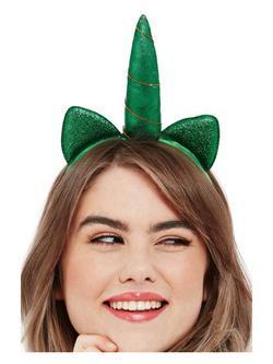 Zöld Csillámos Unikornis Hajpánt