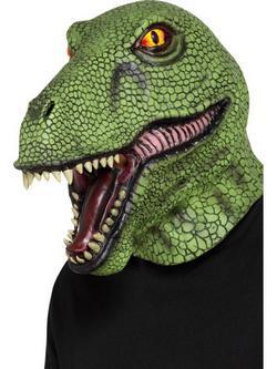 Zöld Egész Fejet Befedő Latex Dinoszaurusz Maszk