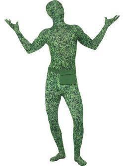 Zöld Fűmintás Testhez Álló Férfi Jelmez