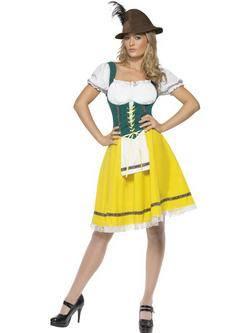 Zöld-Sárga-Fehér Bajor Sörlány Oktoberfest Női Jelmez