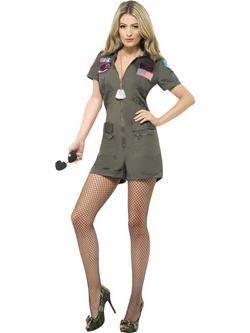 Zöld Top Gun Aviátor Női Jelmez