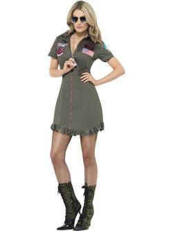 Zöld Top Gun Női Jelmez Napszemüveggel